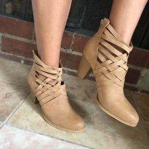 Strap Bootie Strappy Boots Beige Suede Cut Out
